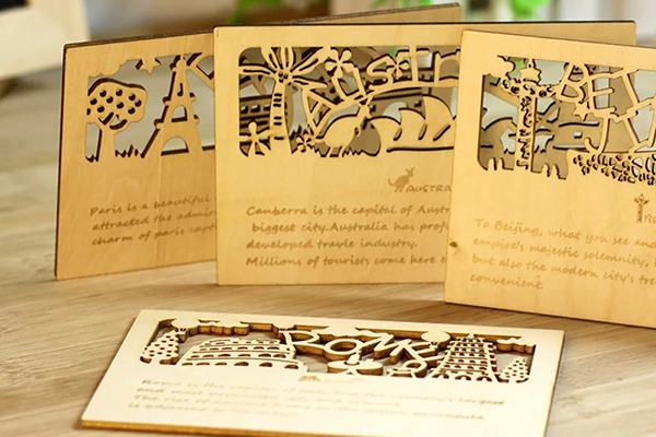 wooden card  engraving