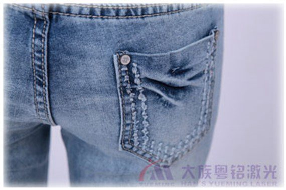 laser burning, laser jeans buring, laser machine of Han's Yueming Laser