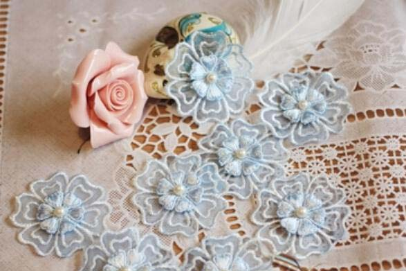 Three dimensional flower lace flower embroidery accessories laser cutting